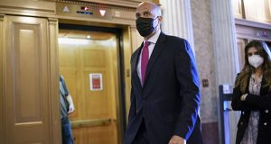 Sen. Cory Booker, D-N.J., arrives at the Senate chamber at the Capitol in Washington on Wednesday after bipartisan congressional talks on overhauling policing practices ended without an agreement. (AP photo: J. Scott Applewhite)