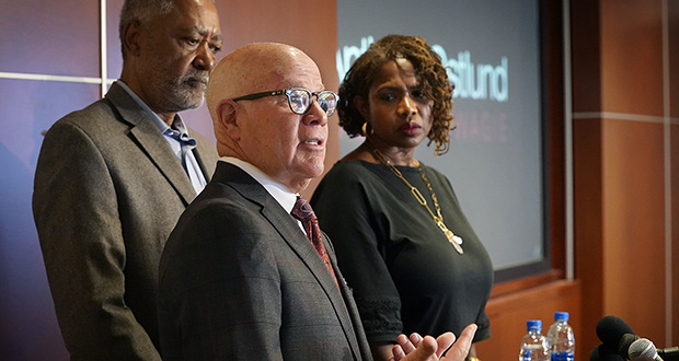 Former Minneapolis City Council member Don Samuels and his wife, Sondra, initiated the court challenge to the charter amendment on policing, saying the ballot language left too many important questions unexplained. In this photo, Don and Sondra Samuels listen as their attorney Joe Anthony speaks at a press conference Wednesday in Minneapolis. (Photo: Star Tribune via AP)
