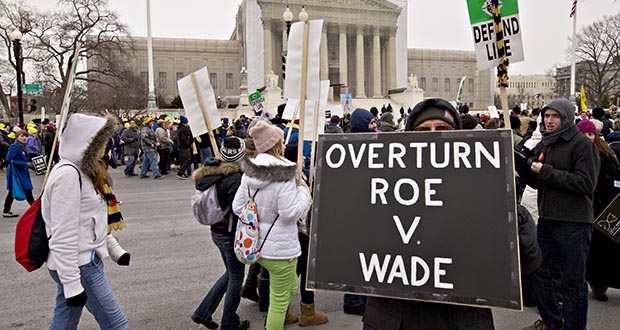 anti-abortion activists march past the Supreme Court Building in Washington