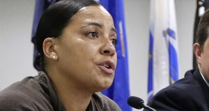 In this 2018 file photo, then-Suffolk County district attorney candidate Rachael Rollins addresses an audience in Boston. (AP file photo)