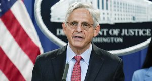 Speaking at the Justice Department in Washington on Thursday, Attorney General Merrick Garland announces a lawsuit to block the enforcement of new Texas law that bans most abortions. (AP photo)