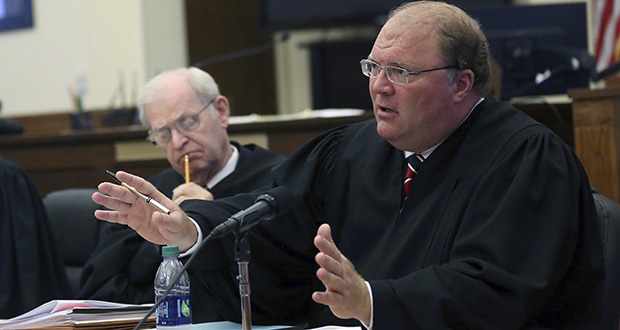 In this Sept. 17, 2015, file photo, then-Wisconsin Supreme Court Justice Michael J. Gableman speaks during a court hearing at the Grant County Courthouse in Lancaster, Wisconsin. (Jessica Reilly/Telegraph Herald via AP, File)