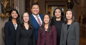 Pictured are, from left to right, Sukanya Momsen, Grace Kim, Christopher Jison, Nicole Dailo, Mayura Noordyke and Stephanie Chen